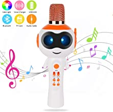 edola Magic Voice Toy Karaoke Microphone with Controllable LED Lights Magic Voice Echo, 3-in-1 Portable Handheld Karaoke Mic Speaker Machine Kids Birthday Best Gifts