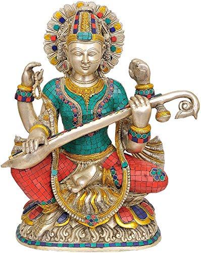 Exotic India Göttin Saraswati Vina Spielen–Messing Statue mit Einlage