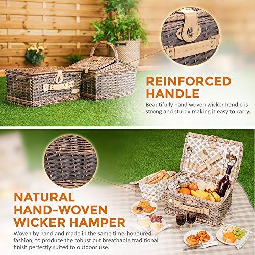 Fineway. 4 Person Traditional Picnic Wicker Hamper Willow Basket With Cooler Bag –Includes Ceramic Plates, Glasses, Cutlery, Bottle Opener, Napkins, Cooler Bag & Picnic Blanket (Round Top Hut Design)