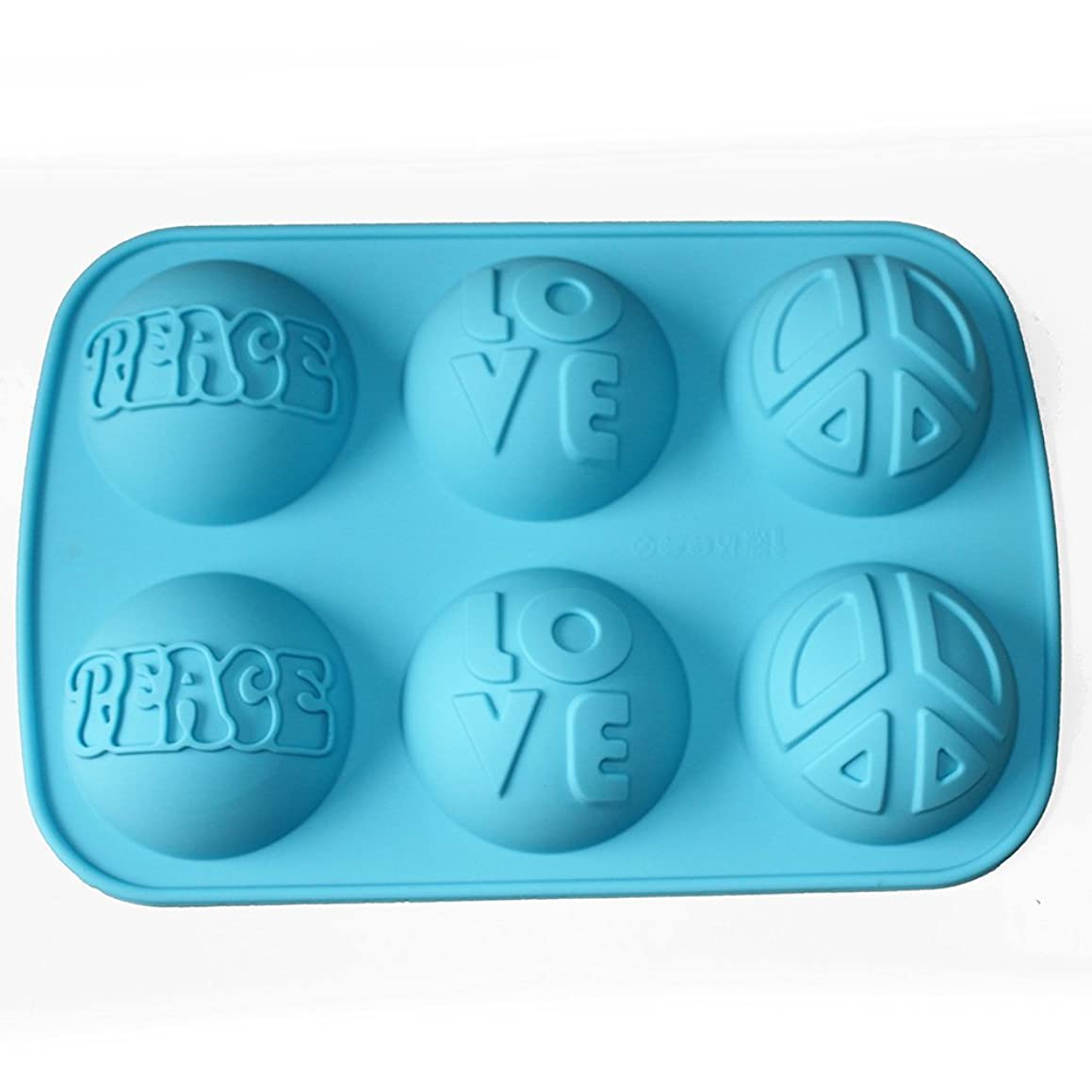 X-Haibei Love Peace Sign Soap Lotion Bar Round Dome Silicone Mold Making Supplies