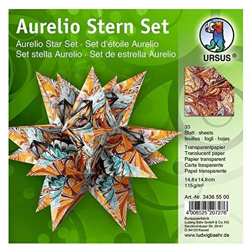 Ursus 34365500 - Faltblätter Aurelio Stern Art, bunt, 33 Blatt, aus Transparentpapier 115 g/qm, ca. 14,8 x 14,8 cm, beidseitig bedruckt, ideal als Weihnachtsdeko