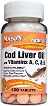 Mason Natural, Cod Liver Oil With Vitamin A C & D, Orange Flavor Chewable Tablets, 100-Count Bottles (Pack of 4), Dietary ...