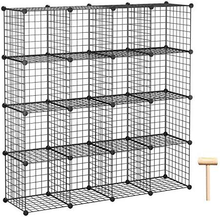 C AHOME Wire Cube Storage 16 Cube Storage Organizer Metal Bookcase Bookshelf Standing Shelf product image