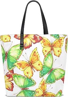 FANTAZIO Schultertasche für Damen, handbemalt, Schmetterlingsmuster, Tragetasche