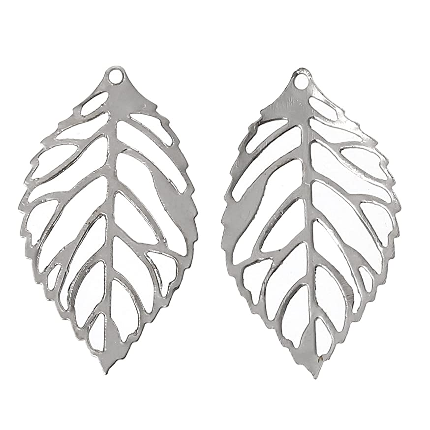 PEPPERLONELY Brand 200 Piece Charm Pendants Leaf Silver Tone Hollow 23mm x14mm(7/8 x 4/8 Inch)