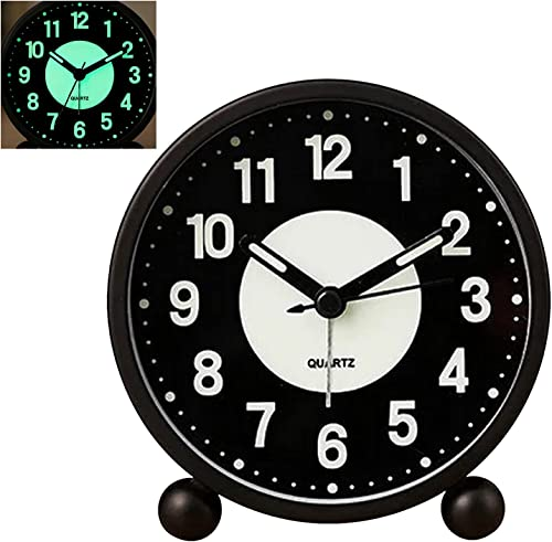 """new arrival Konigswerk outlet sale Alarm Clock Luminous 4"""" Round Silent Analog Table Clock Non Ticking , Battery online sale Powered with Loud Alarm and Nightlight Small Desk Clock for Bedroom, Bedside (Black Clock) online sale"""