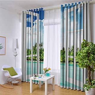 W72 x L108 Inch Ocean Decor Polyester Blackout Room Darkening Curtain Palm Trees Tropical Island Beach Nature Paradise Panoramic Picture Through Wooden Windows Scene Theme Grommet Curtains for Living