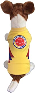 Dog Soccer Jersey Colombia-Pet T-Shirt- Made of 100% Polyester-Breathable Fabric-Makes Dog Comfortable-Cozy up Costume to Celebrate The Russia World Cup 2018-enjoy Your Football Team Passion.