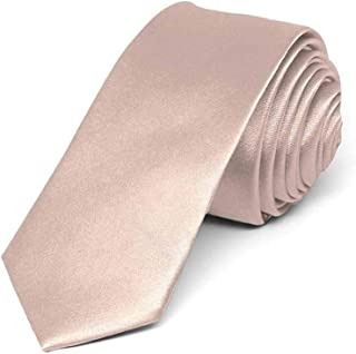 "TieMart Boys' Blush Pink Skinny Solid Color Necktie, 2"" Width"