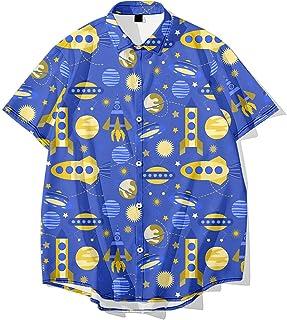 RFEGEF Hawaiian Beach Shirt,Men Hawaiian Shortsleeve Hawaiian Button Shirts Space Planet Printing Plus Size Loose Tops Cas...
