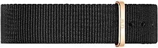Daniel Wellington Classic Cornwall Cinturino Unisex Adulto, 18mm, in NATO, Nero/Oro Rosato