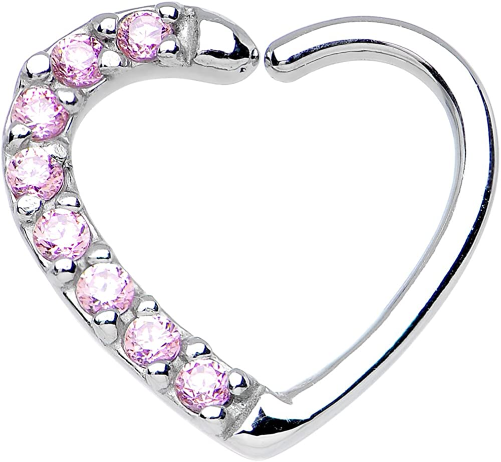Body Candy 16 Gauge Pink Heart Right Closure Daith Cartilage Tragus Earring