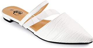 Trary Women's Pointy Toe Flat Mule Slides with PVC Clear Strap