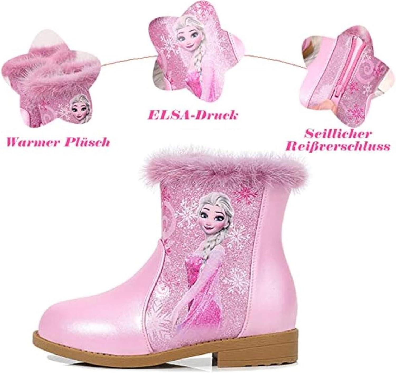 LCXYYY Bottes de Neige Filles Chaussures de Princesse Bottes La Reine des Neiges Elsa Bottes dhiver pour Enfants avec Doublure Chaude Costume de Fille Bottes