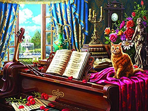 LIUDALA 500-teiliges Puzzle für Erwachsene und Kinder Holzpuzzle Modernes Dekompressions-Spaß-Puzzle DIY-Heimdekoration von Toy-Grand Piano Cat