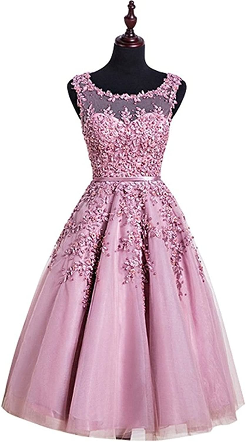 JudyBridal Women Lace Tulle Appliques TeaLength Bridesmaid Prom Dresses