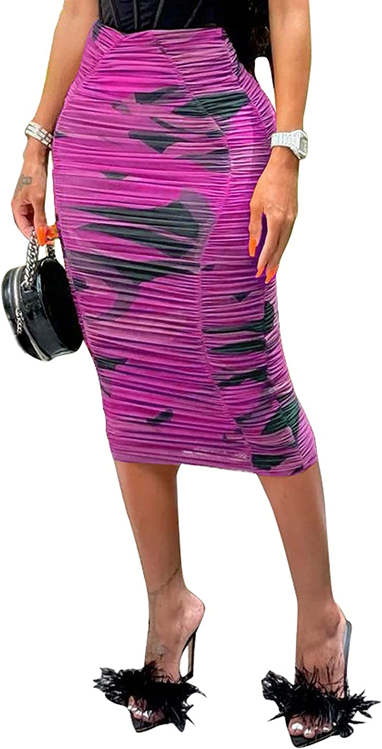JTENGYAO Casual Pleated High Stretch Mesh Printed Skirt for Women - Purple
