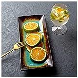 Xiuxiu Creativo Retro Strisce di Ceramica Giapponese Verde Ghiaccio crepa Piastra Quadrata Ristorante Piatto di Insalata Piatto di Pesce Piatto da Pranzo Piastra di Sushi