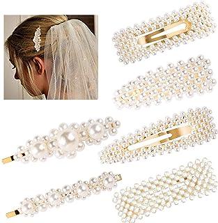 SALOCY ヘアクリップ-パール ヘアクリップ ヘアピン ヘアアクセサリー 髪留め 髪飾り 結婚式 卒業式 入学式 パーティ レディース ゴールド 6本セット