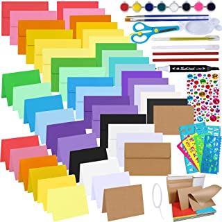 48 Sets 16 Colors A7 Invitations Envelopes 5x7 Envelopes Self Seal with Blank 5x7 Folded Note Cards Colored Paper Bulk DIY...