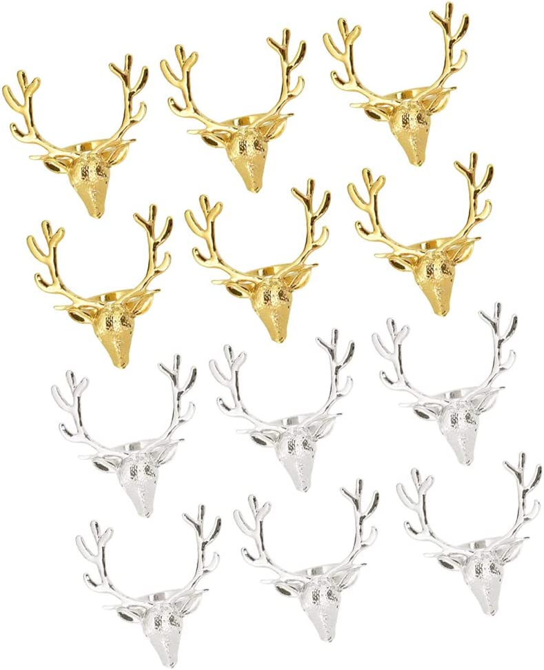 Shipping Challenge the lowest price of Japan ☆ included N\C 12pcs Napkin Rings Holder Buckle Head Reindeer
