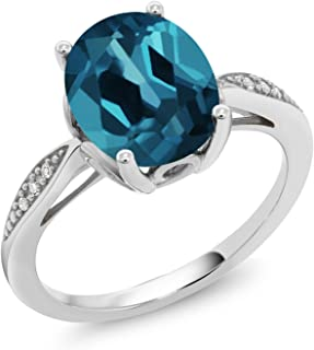 London Blue Topaz and White Diamond 14K White Gold Women's Engagement Ring (2.84 Ct Oval Available in size 5, 6, 7, 8, 9)