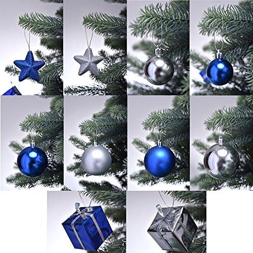 PROHEIM Christbaumschmuck in Blau/Silber Weihnachtskugeln glänzend und matt Baumschmuck Weihnachten Deko Anhänger Diverse Sets wählbar, Set wählen:56-teiliges Set