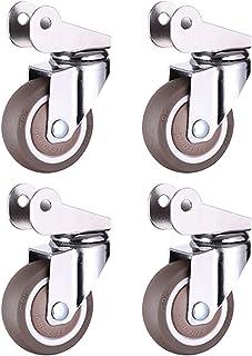 40 mm / 50 mm rubberen zwenkwiel voor babybed (4 stuks/belasting 100 kg), U-beugelafstand 20 mm, stil zwenkwiel voor meube...