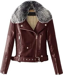 Lentta Women's Faux Fur Collar Pu Leather Fleece Lined Warm Quilted Moto Jacket