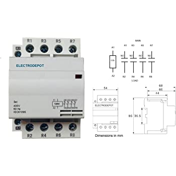 4 pole contactor 40 amp, 120v coil ac open (n/o) din mount iec, lighting  swiching 60a, 50a - - amazon.com  amazon.com