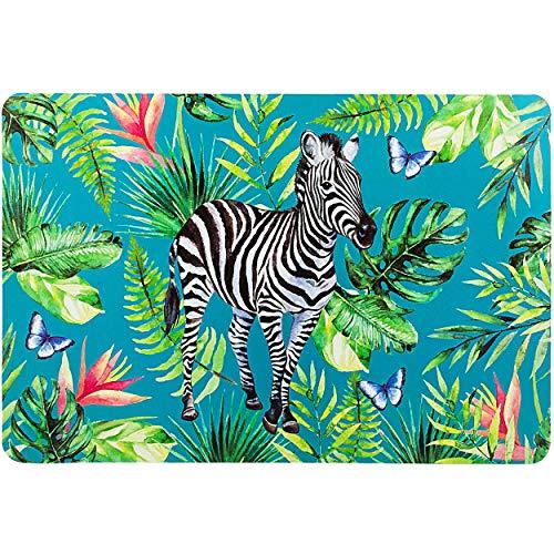 alles-meine.de GmbH 2 Stück _ Unterlagen - Dschungel Tiere & Safari - Zebra - 44 cm * 29 cm - als Tischunterlagen / Platzdeckchen / Malunterlagen / Knetunterlagen / Eßunterlagen ..
