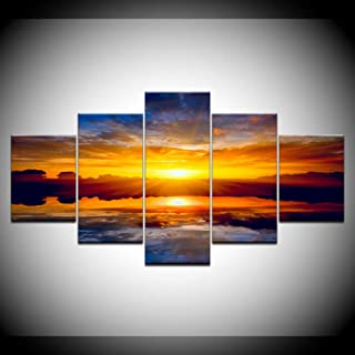 ZXCVWY Nature Landscape Poster Sunset Wall Art Oil Painting Canvas Print Pictures for Living Room 5 Piece Artwork
