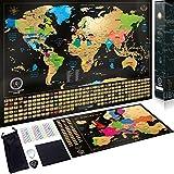 Wanderlust Mapa Mundi Rascar y Mapa Rascable Europa, Color Negro y Dorado, 61 x 43...