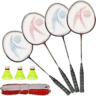 Hipkoo Sports Power 04 Rackets Set of 4 with Net and 3 Shuttles Badminton Kit