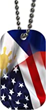 BleuReign(TM) Mixed USA and Philippines Flag Single Sided Metal Military ID Dog Tag with Beaded Chain