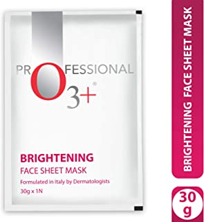 O3+ Brightening Face Sheet Mask for Lighter, Radiant & Even Facial Skin Tone Infused with Lemon & Green Tea (3 Pcs, 90g)