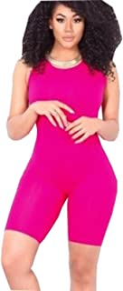 ICOOLTECH Women Casual Sleeveless Bodycon Romper Jumpsuit Club Bodysuit Short Pants