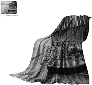 Luoiaax Black and White Warm Microfiber All Season Blanket Old Wooden Fishing Boat and Abandoned Barn on The Lake Coastal Charm Picture Summer Quilt Comforter 60