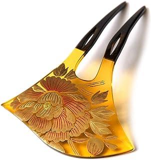 [でぃあじゃぱん] かんざし 牡丹 花 蒔絵風 黒 金 バチ型 フォーマル