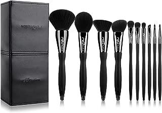 MSQ Makeup Brushes 10pcs Pro Makeup Brush Kit with Makeup Case & Diamond Decoration/S-type Curve Handle (Foundation, Powder, Blush, Contour, Eyeshadow Brushes & Lip) Best for Gifts-Black