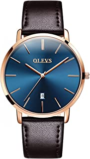 OLEVS Mens Watch - Ultra Thin Fashionable Minimalist - Stainless Steel Bezel Buckle - Leather Strap - Casual Japanese Quartz Watches for Men