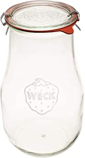 Weck Jars - Weck Tulip Jars 2.5 Liter - Sour Dough Starter Jars - Large Glass Jars for Sourdough - Starter Jar with Glass ...