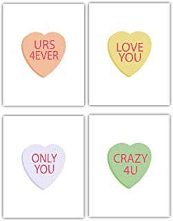 Valentine's Themed Art Prints - Candy Hearts Wall Decor -Set of Four Prints (8x10) Unframed - Great Gift for Valentines Day or Any Day You are in Love