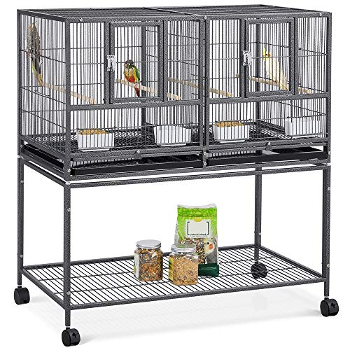 YAHEETECH Stackable Divided Breeder Breeding Parakeet Bird Cage for Canaries Cockatiels Lovebirds Finches Budgies Small Parrots with Rolling Stand, 4 Pack