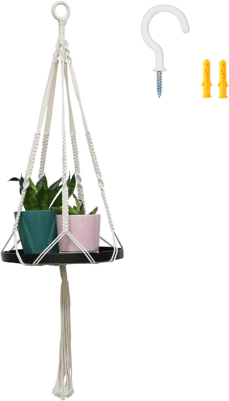 Macrame Plant Hanger with Wooden Tray Shelf- Indoor Hangin Plate Free Omaha Mall Shipping Cheap Bargain Gift