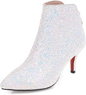 Vitalo Womens High Heel Sparkly Glitter Ankle Boots Zip Pointed Toe Party Booties Shoes