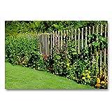 CALVENDO Premium Textil-Leinwand 90 x 60 cm Quer-Format Blumen am Gartenzaun, Leinwanddruck von Monika Lutzenberger