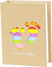 WLC Small Photo Album Baby Journal Photo Album 4x6 inch,100 Pockets Babies Lovely feet Pictures Album, Brown