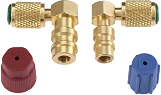 R12 to R134 A High/Low AC Fitting Port Retrofit Conversion Adapter, Quick Coupler Valve A/C 90° Fitting 3/8'' High Side 7/16'' Low Side R-12 to R-134A with 2 PC Caps