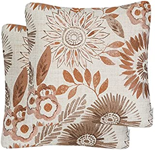 Mika Home Pack of 2 Decorative Throw Pillows Cases Cushion Cover for Sofa Couch Bed,Sunflower Pattern,20x20 Inches,Brown Cream